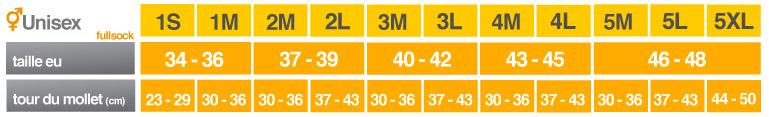 Guide des tailles Compressport Full Socks V2